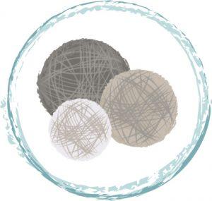 Kismet secondary logo with balls of yarn.