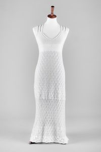 Knitted wedding dress on a dress form
