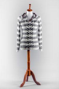 Stripe knitted pattern hoodie sweater